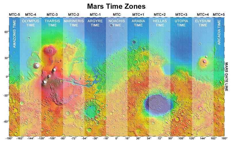 Mars time zone map - click to enlarge